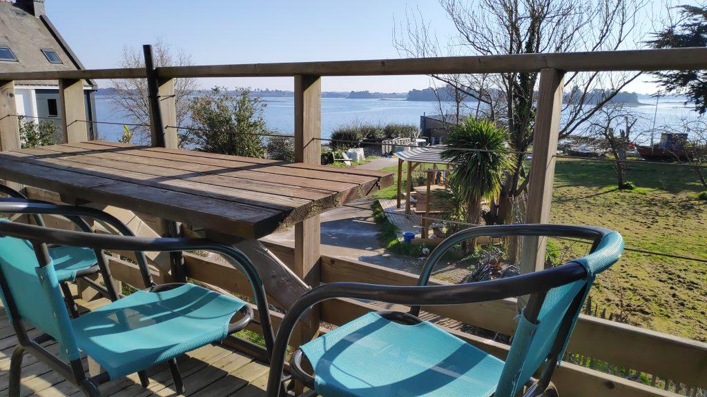 balcon vue sur mer ria étel locaction de vacances morbihan